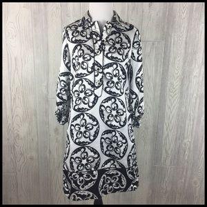 Zara Basic Medium Shirt Dress Black White Satin